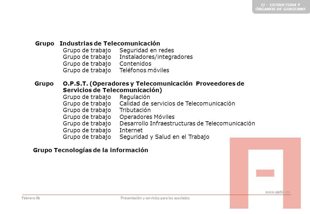 www.aetic.es Presentación y servicios para los asociados Febrero-06 COMISIONES HORIZONTALES Comisión Desarrollo del Mercado Comisión Servicios al Sector Comisión Innovación y Desarrollo Tecnológico Comisión Medio Ambiente Comisión Promoción del Sector II – ESTRUCTURA Y ÓRGANOS DE GOBIERNO