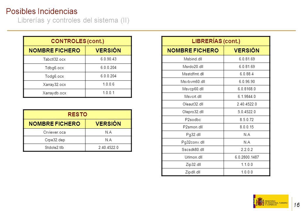 16 Posibles Incidencias Librerías y controles del sistema (II) LIBRERÍAS (cont.) NOMBRE FICHEROVERSIÓN Msbind.dll6.0.81.69 Msrdo20.dll6.0.81.69 Msstdf