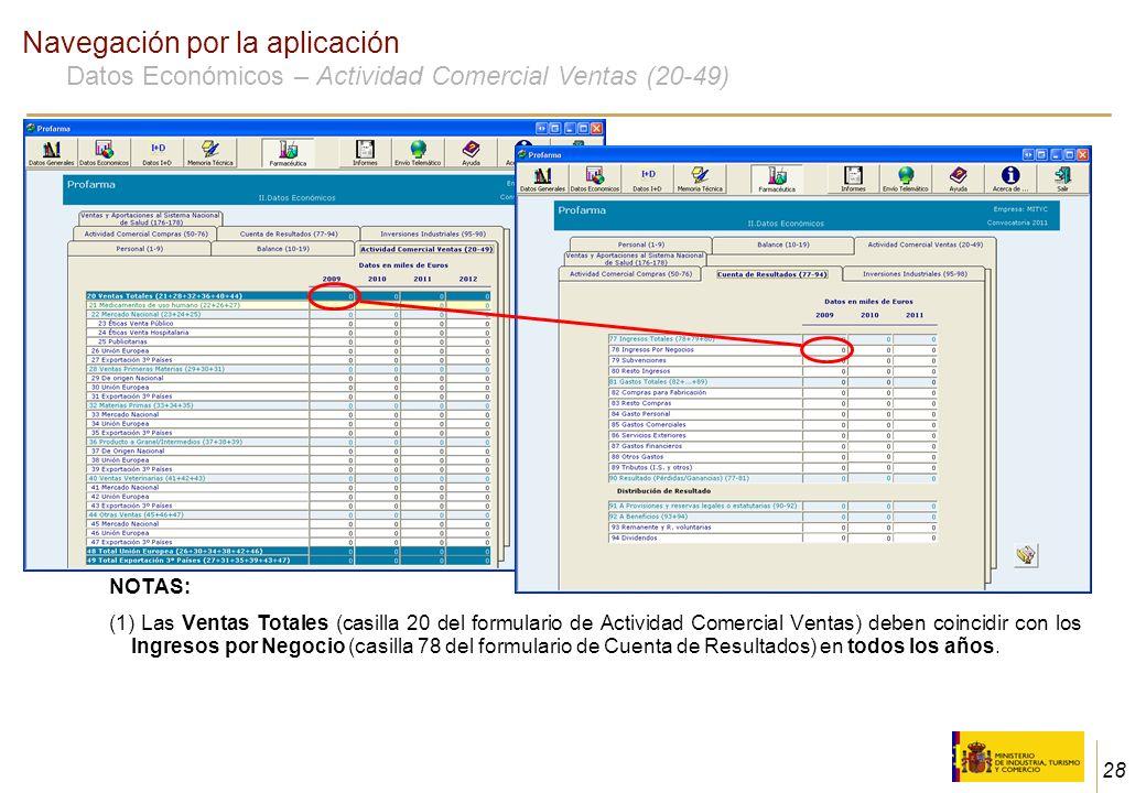 28 Navegación por la aplicación Datos Económicos – Actividad Comercial Ventas (20-49) NOTAS: (1) Las Ventas Totales (casilla 20 del formulario de Acti