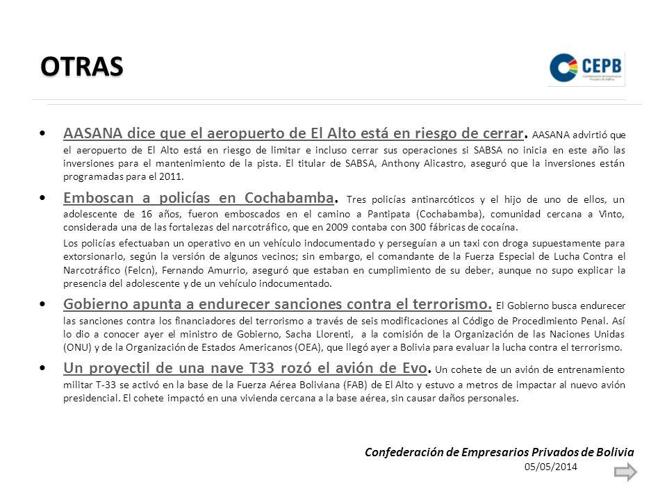 OTRAS AASANA dice que el aeropuerto de El Alto está en riesgo de cerrar. AASANA advirtió que el aeropuerto de El Alto está en riesgo de limitar e incl