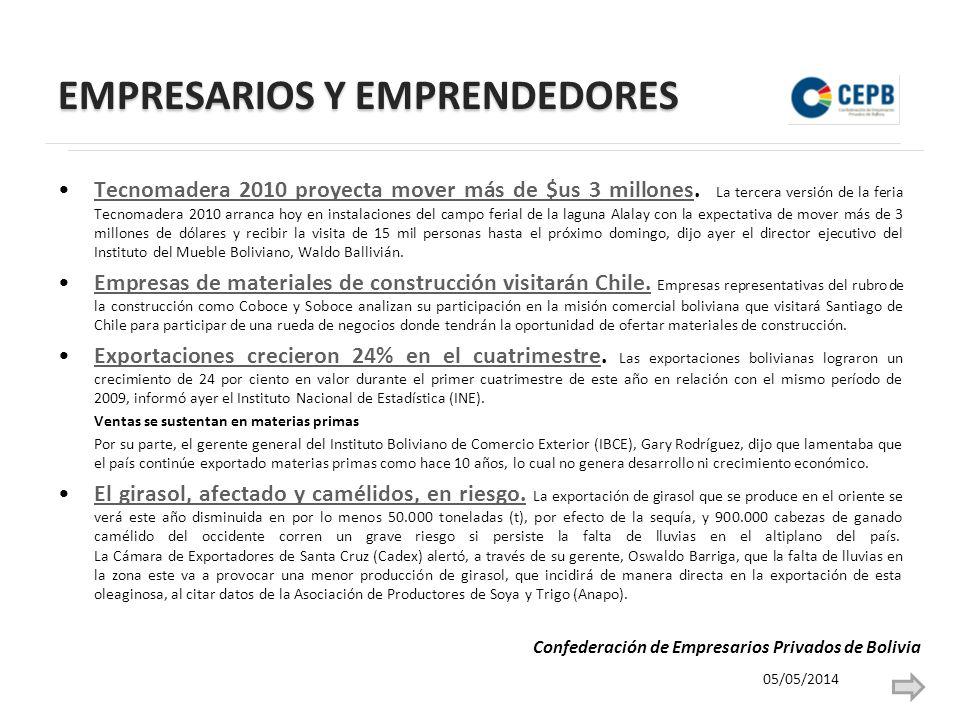 EMPRESARIOS Y EMPRENDEDORES Tecnomadera 2010 proyecta mover más de $us 3 millones.