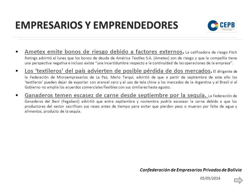 EMPRESARIOS Y EMPRENDEDORES Ametex emite bonos de riesgo debido a factores externos.