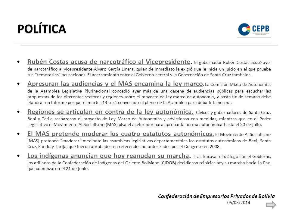 POLÍTICA Rubén Costas acusa de narcotráfico al Vicepresidente.
