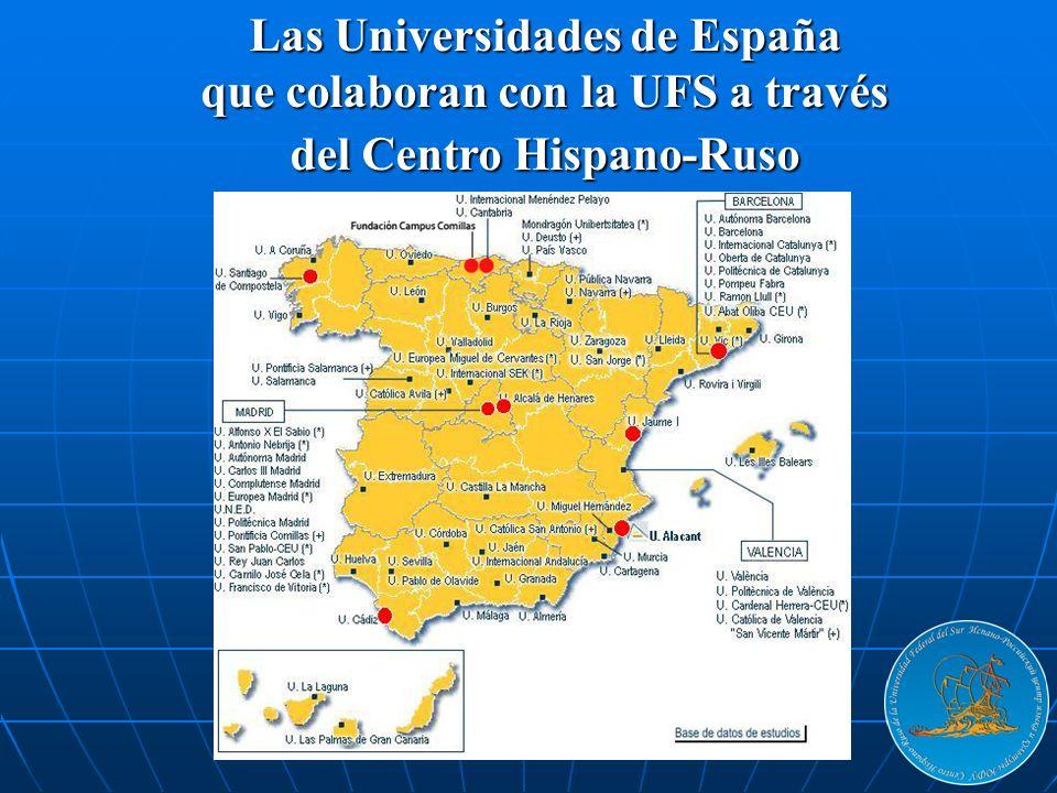 Las Universidades de España que colaboran con la UFS a través del Centro Hispano-Ruso
