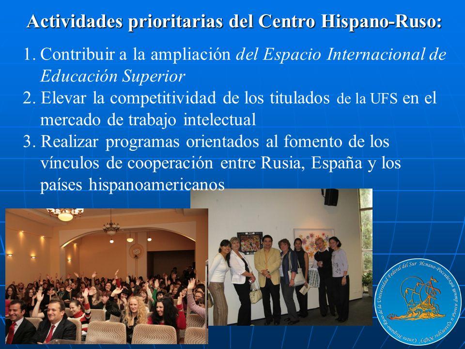 Actividades prioritarias del Centro Hispano-Ruso: 1.Contribuir a la ampliación del Espacio Internacional de Educación Superior 2. Elevar la competitiv