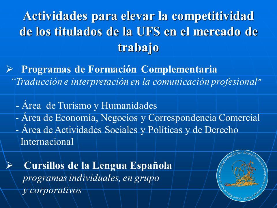 Programas de Formación Complementaria Traducción e interpretación en la comunicación profesional - Área de Turismo y Humanidades - Área de Economía, N