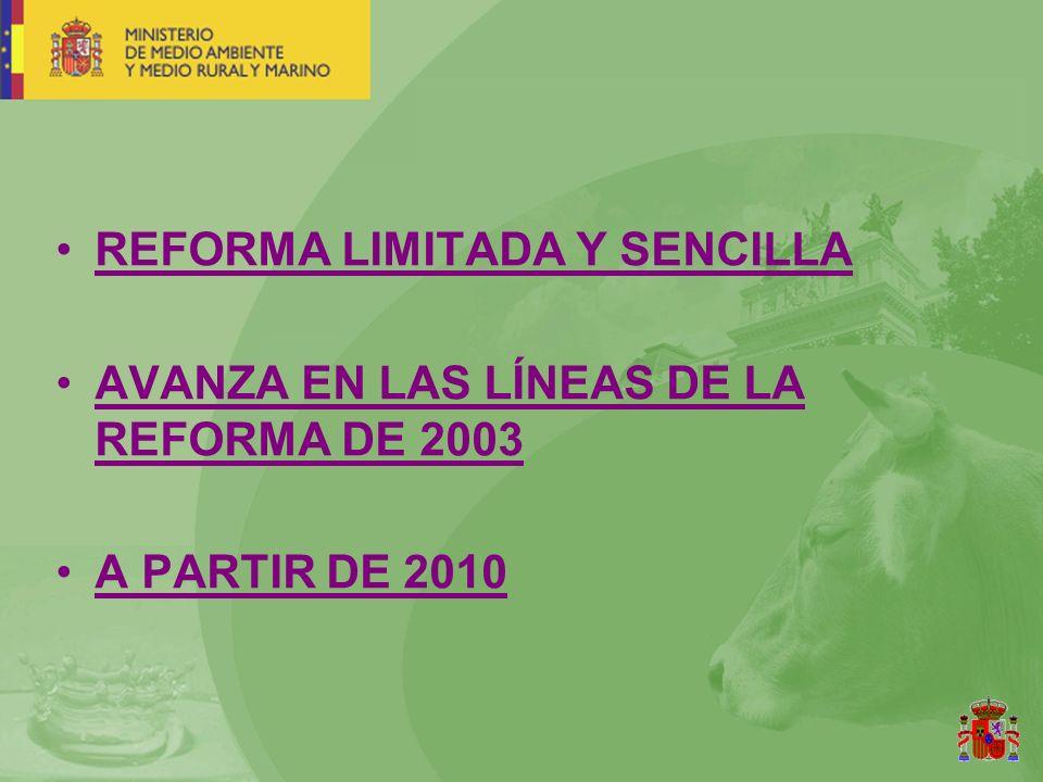 REFORMA LIMITADA Y SENCILLA AVANZA EN LAS LÍNEAS DE LA REFORMA DE 2003 A PARTIR DE 2010