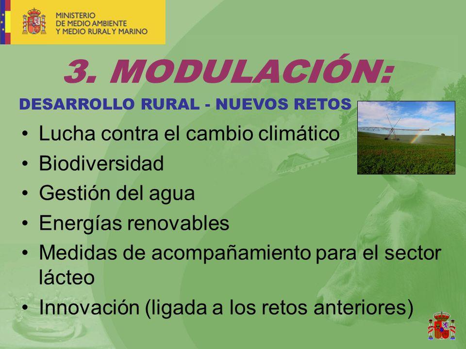 DESARROLLO RURAL - NUEVOS RETOS Lucha contra el cambio climático Biodiversidad Gestión del agua Energías renovables Medidas de acompañamiento para el sector lácteo Innovación (ligada a los retos anteriores)