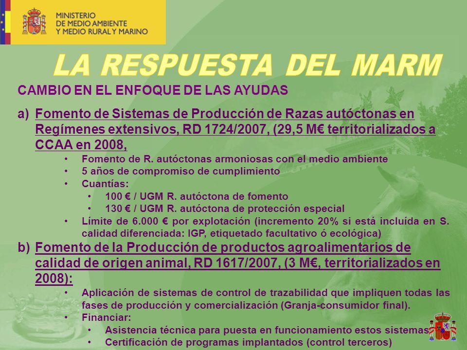 CAMBIO EN EL ENFOQUE DE LAS AYUDAS a)Fomento de Sistemas de Producción de Razas autóctonas en Regímenes extensivos, RD 1724/2007, (29,5 M territorializados a CCAA en 2008, Fomento de R.