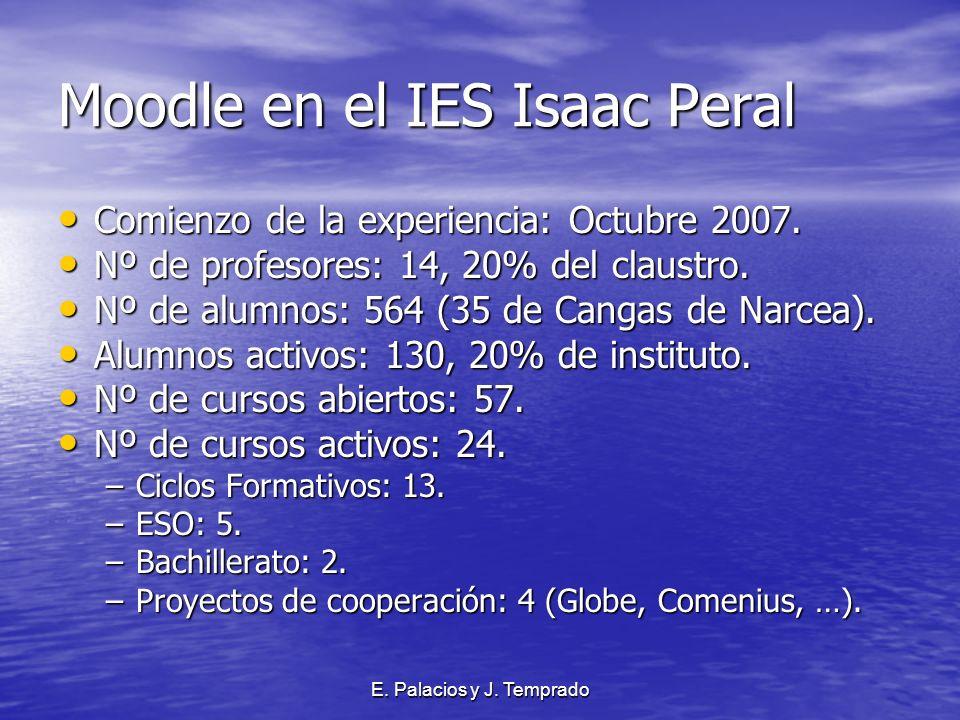 E. Palacios y J. Temprado Moodle en el IES Isaac Peral Comienzo de la experiencia: Octubre 2007.