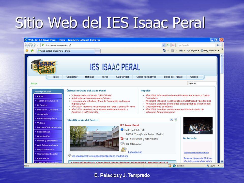 E. Palacios y J. Temprado Sitio Web del IES Isaac Peral
