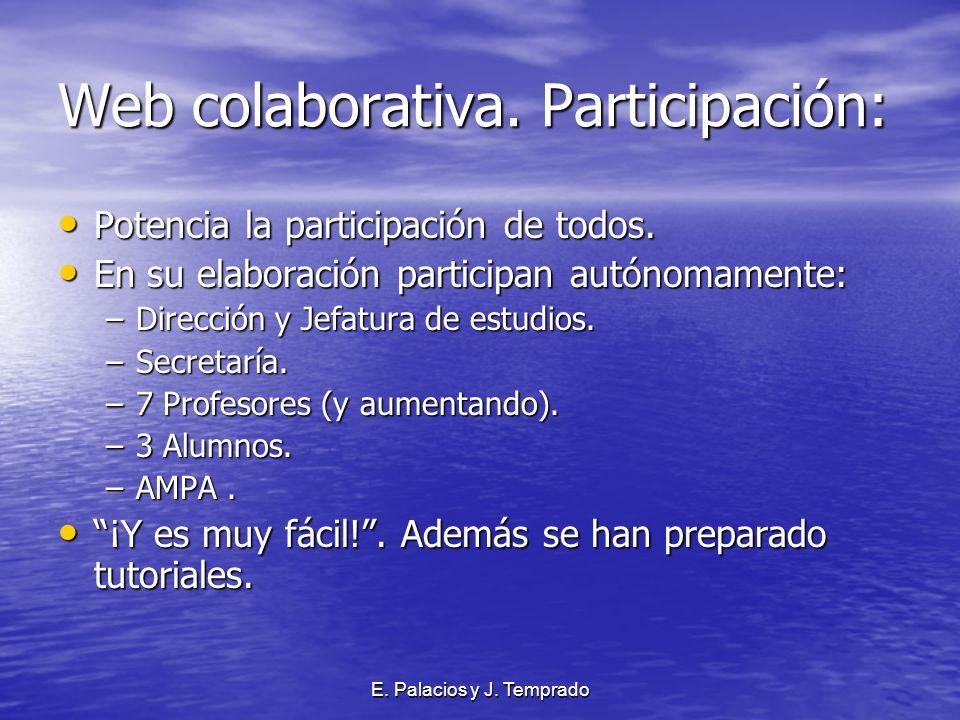 E. Palacios y J. Temprado Web colaborativa. Participación: Potencia la participación de todos.