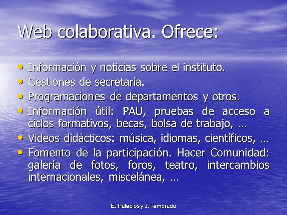 E. Palacios y J. Temprado Web colaborativa. Ofrece: Información y noticias sobre el instituto.