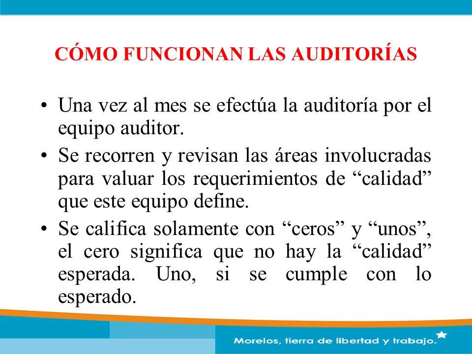 CÓMO FUNCIONAN LAS AUDITORÍAS Una vez al mes se efectúa la auditoría por el equipo auditor. Se recorren y revisan las áreas involucradas para valuar l