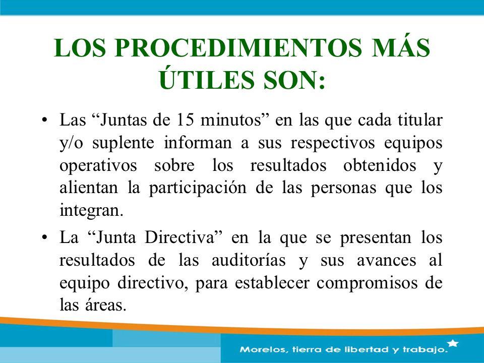 LOS PROCEDIMIENTOS MÁS ÚTILES SON: Las Juntas de 15 minutos en las que cada titular y/o suplente informan a sus respectivos equipos operativos sobre l