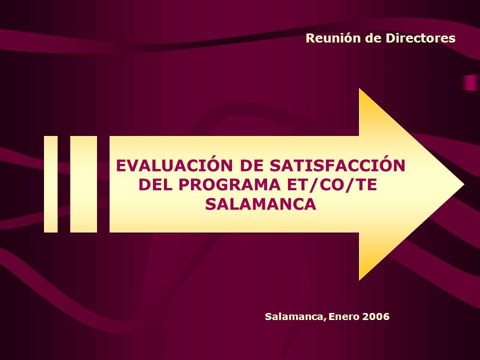 Reunión de Directores EVALUACIÓN DE SATISFACCIÓN DEL PROGRAMA ET/CO/TE SALAMANCA Salamanca, Enero 2006