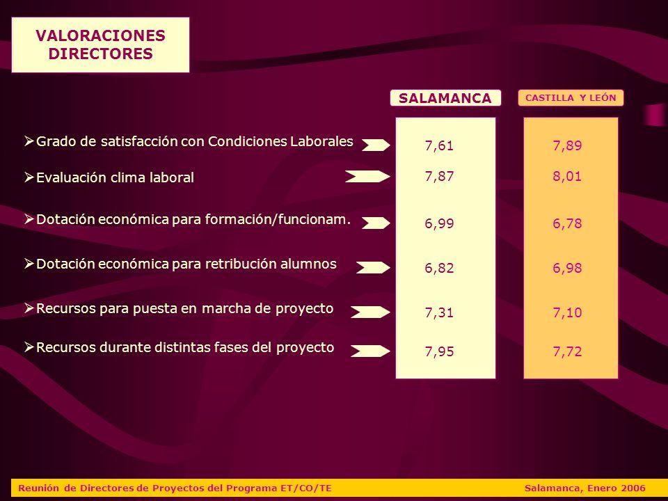 Reunión de Directores de Proyectos del Programa ET/CO/TE Salamanca, Enero 2006 VALORACIONES DIRECTORES SALAMANCA CASTILLA Y LEÓN 6,99 6,82 7,31 7,95 6,78 6,98 7,10 7,72 Dotación económica para formación/funcionam.