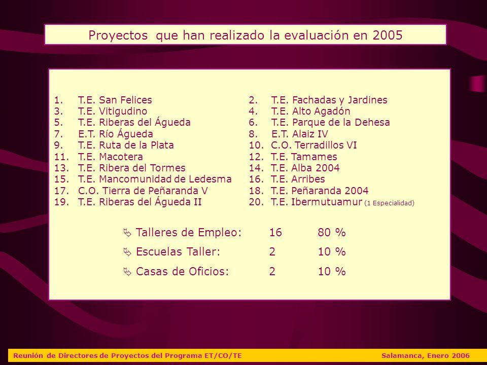 VALORACIONES DIRECTORES Reunión de Directores de Proyectos del Programa ET/CO/TE Salamanca, Enero 2006 SALAMANCA CASTILLA Y LEÓN Evaluación global del proyecto 7,607,47 Grado de satisfacción con proyecto 7,707,80