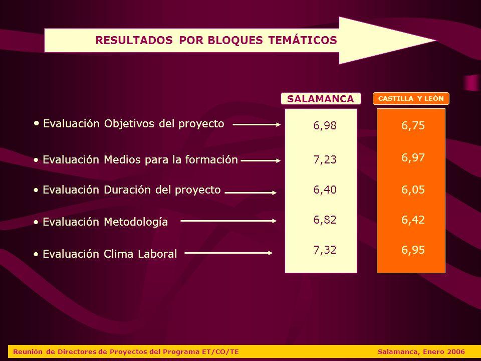 RESULTADOS POR BLOQUES TEMÁTICOS Evaluación Objetivos del proyecto Evaluación Medios para la formación Evaluación Duración del proyecto Evaluación Metodología Evaluación Clima Laboral SALAMANCA CASTILLA Y LEÓN 6,98 7,23 6,40 6,82 7,32 6,75 6,97 6,05 6,42 6,95 Reunión de Directores de Proyectos del Programa ET/CO/TE Salamanca, Enero 2006