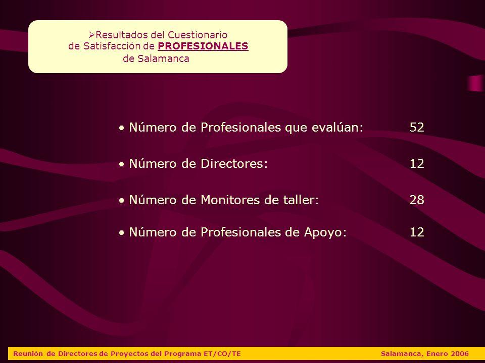 Número de Profesionales que evalúan:52 Número de Directores: 12 Número de Monitores de taller: 28 Resultados del Cuestionario de Satisfacción de PROFESIONALES de Salamanca Reunión de Directores de Proyectos del Programa ET/CO/TE Salamanca, Enero 2006 Número de Profesionales de Apoyo:12