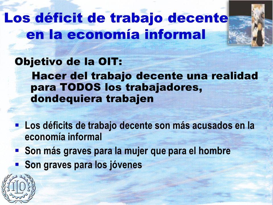 Los déficit de trabajo decente en la economía informal Objetivo de la OIT: Hacer del trabajo decente una realidad para TODOS los trabajadores, dondequ