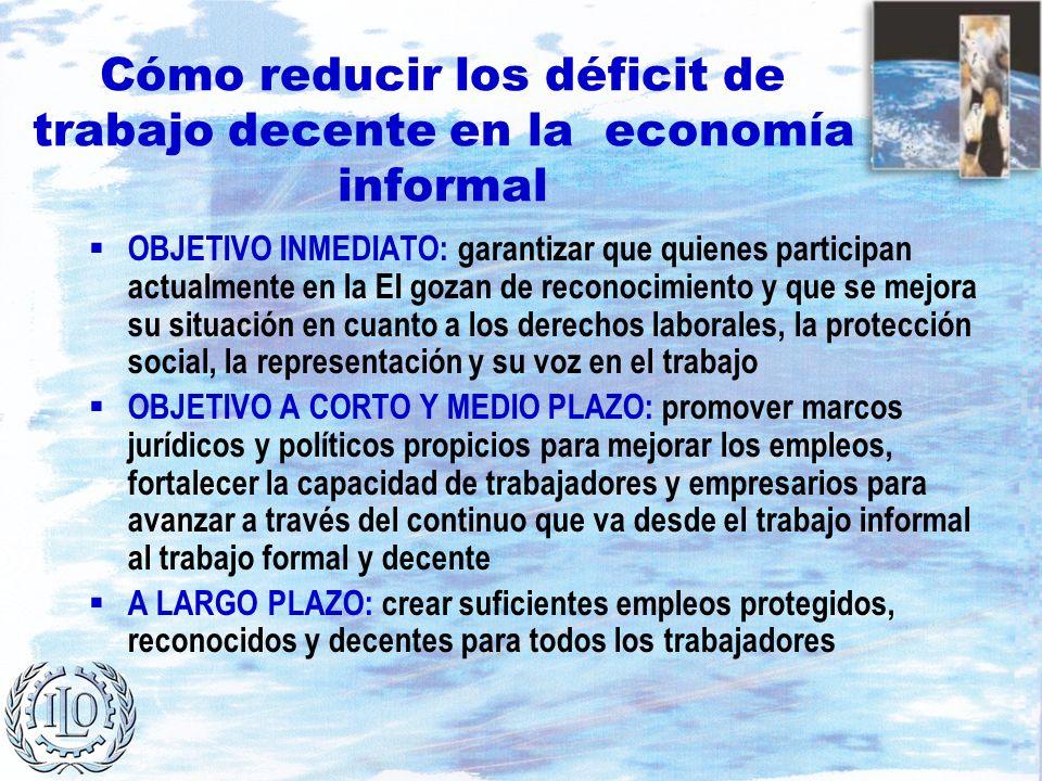 Cómo reducir los déficit de trabajo decente en la economía informal OBJETIVO INMEDIATO: garantizar que quienes participan actualmente en la EI gozan d
