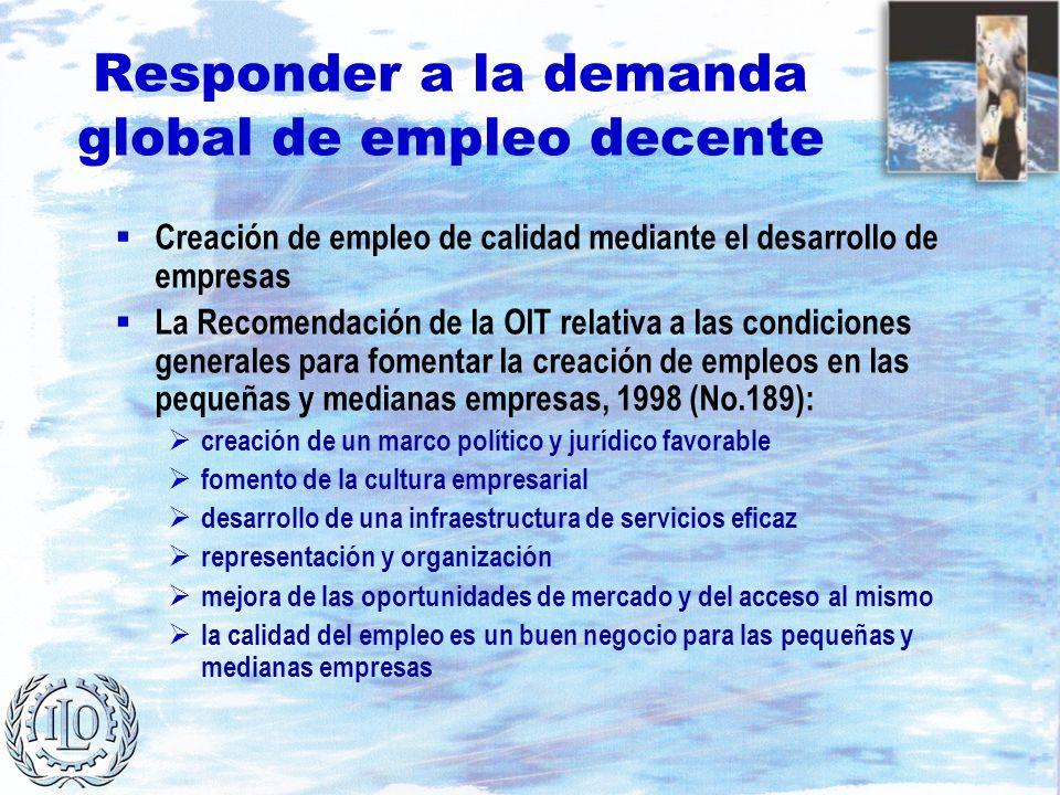 Responder a la demanda global de empleo decente Creación de empleo de calidad mediante el desarrollo de empresas La Recomendación de la OIT relativa a