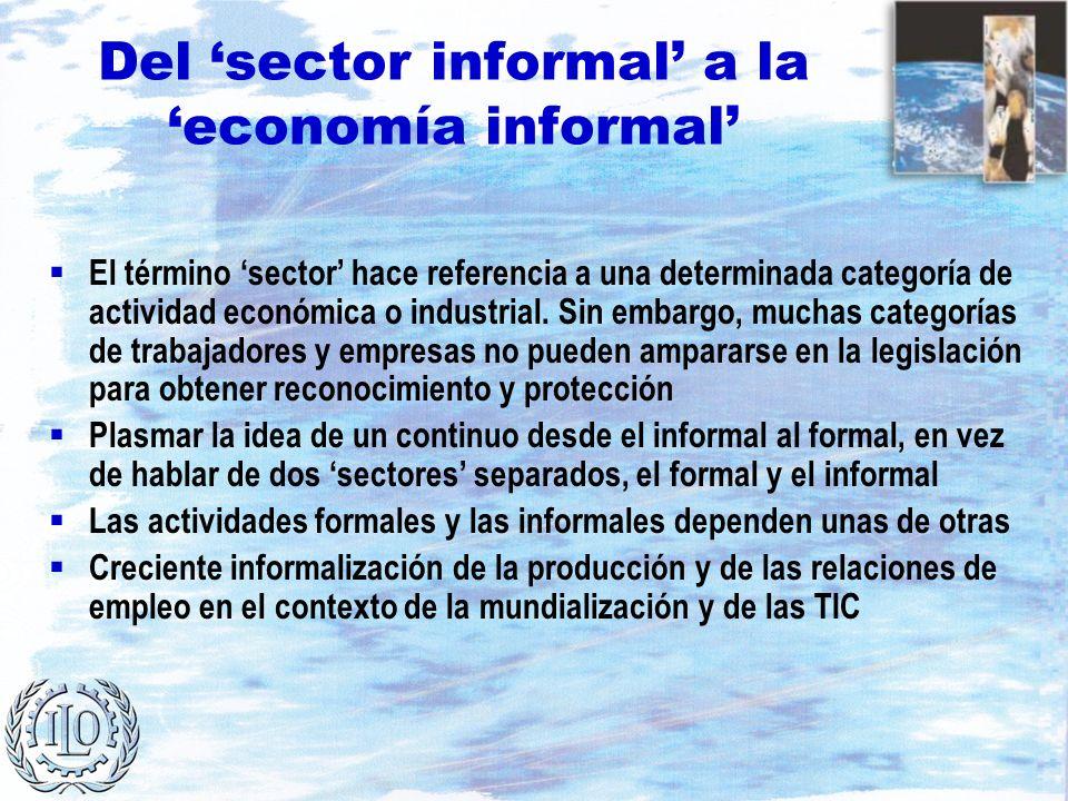 Del sector informal a la economía informal El término sector hace referencia a una determinada categoría de actividad económica o industrial. Sin emba