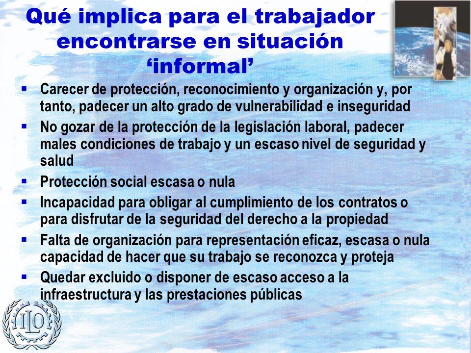 Qué implica para el trabajador encontrarse en situación informal Carecer de protección, reconocimiento y organización y, por tanto, padecer un alto gr