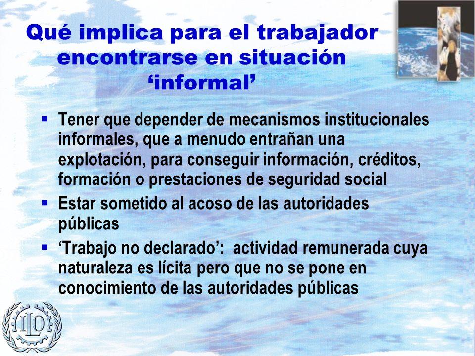 Qué implica para el trabajador encontrarse en situación informal Tener que depender de mecanismos institucionales informales, que a menudo entrañan un