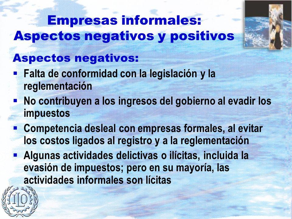 Empresas informales: Aspectos negativos y positivos Aspectos negativos: Falta de conformidad con la legislación y la reglementación No contribuyen a l