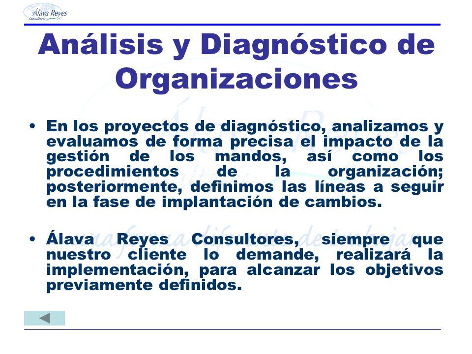 Análisis y Diagnóstico de Organizaciones En los proyectos de diagnóstico, analizamos y evaluamos de forma precisa el impacto de la gestión de los mand
