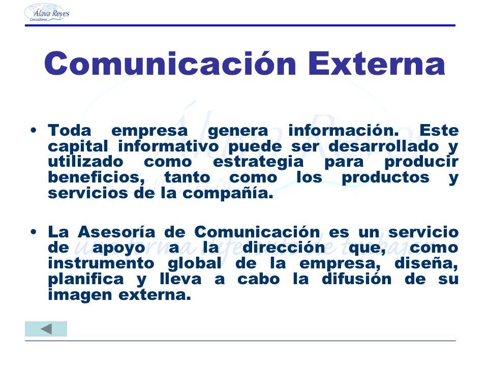Comunicación Externa Toda empresa genera información. Este capital informativo puede ser desarrollado y utilizado como estrategia para producir benefi