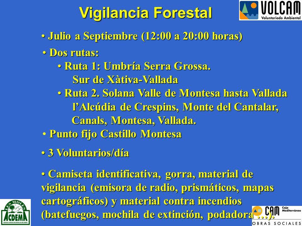 Vigilancia Forestal 3 Voluntarios/día 3 Voluntarios/día Camiseta identificativa, gorra, material de vigilancia (emisora de radio, prismáticos, mapas cartográficos) y material contra incendios (batefuegos, mochila de extinción, podadora …).