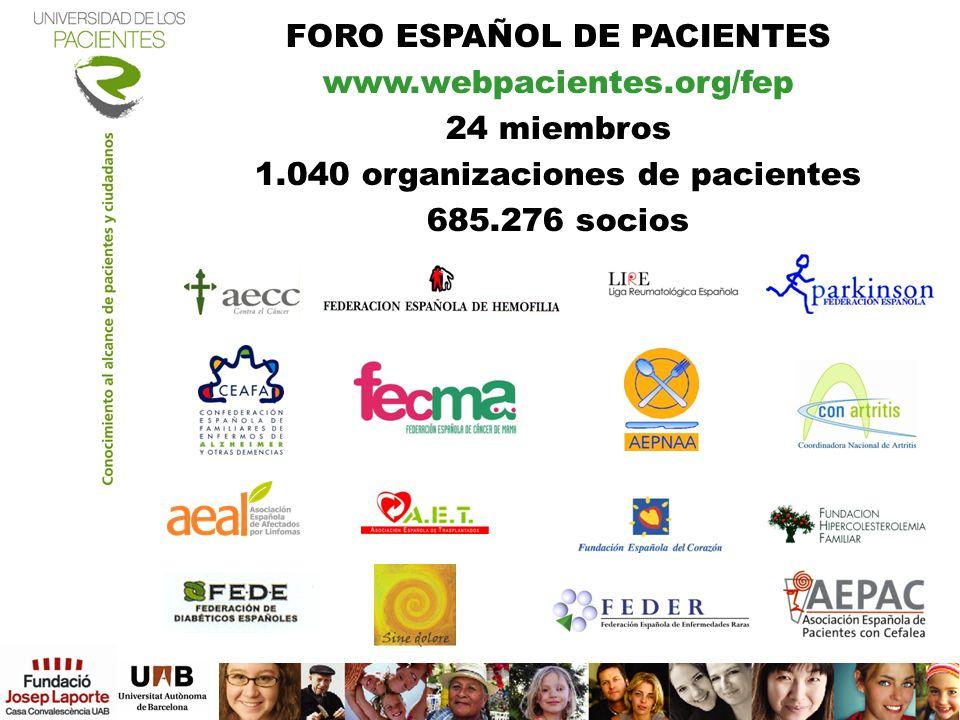 FORO ESPAÑOL DE PACIENTES www.webpacientes.org/fep 24 miembros 1.040 organizaciones de pacientes 685.276 socios