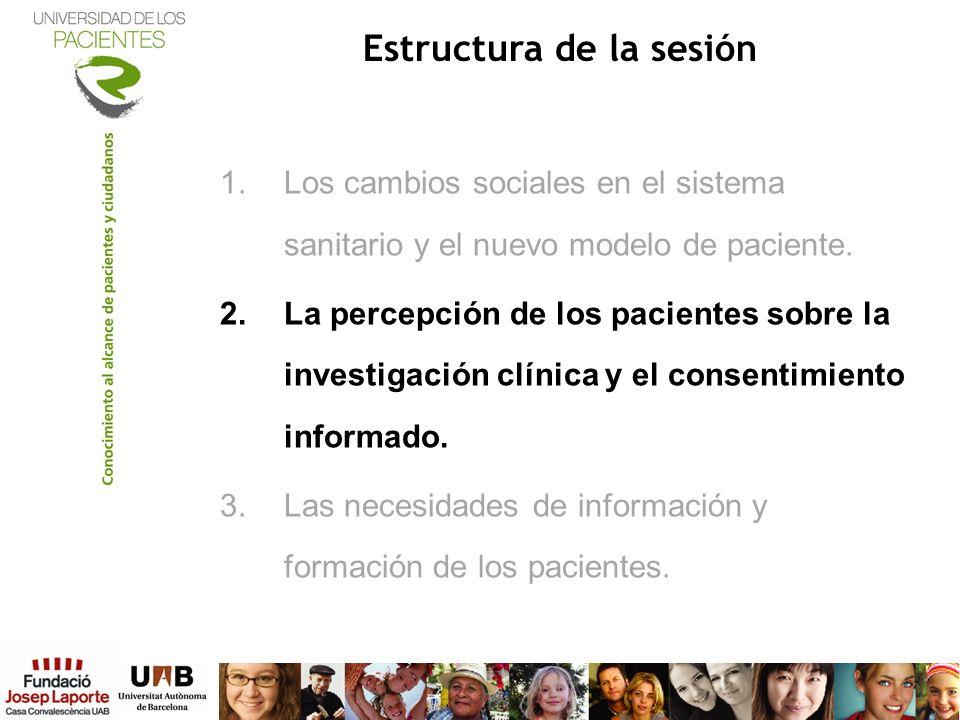 Estructura de la sesión 1.Los cambios sociales en el sistema sanitario y el nuevo modelo de paciente. 2.La percepción de los pacientes sobre la invest