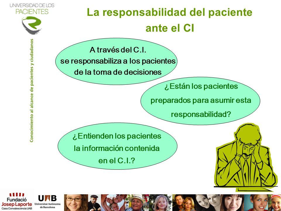 La responsabilidad del paciente ante el CI A través del C.I. se responsabiliza a los pacientes de la toma de decisiones ¿Están los pacientes preparado