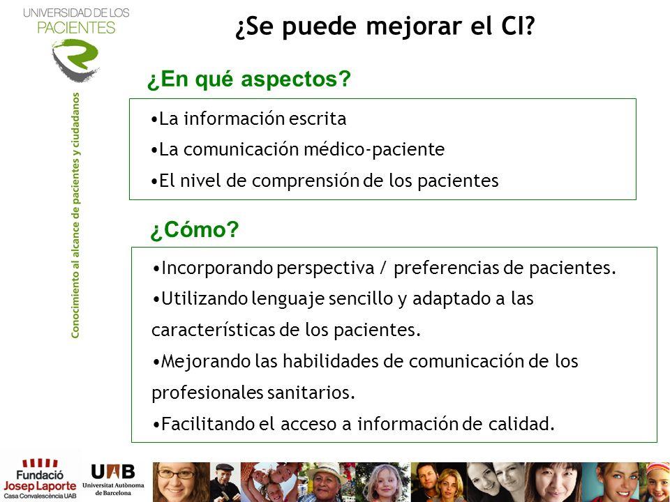 La información escrita La comunicación médico-paciente El nivel de comprensión de los pacientes ¿Se puede mejorar el CI? Incorporando perspectiva / pr