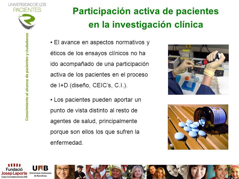 Participación activa de pacientes en la investigación clínica Los pacientes y la investigación clínica. Master en monitorización de Ensayos Clínicos.