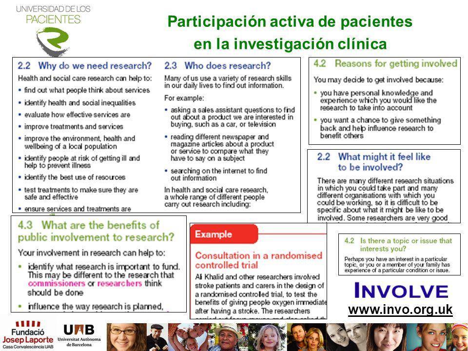 www.invo.org.uk Participación activa de pacientes en la investigación clínica