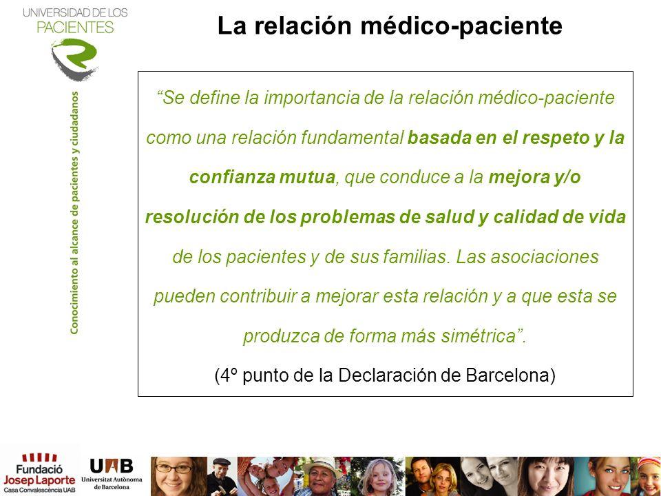 La relación médico-paciente Se define la importancia de la relación médico-paciente como una relación fundamental basada en el respeto y la confianza