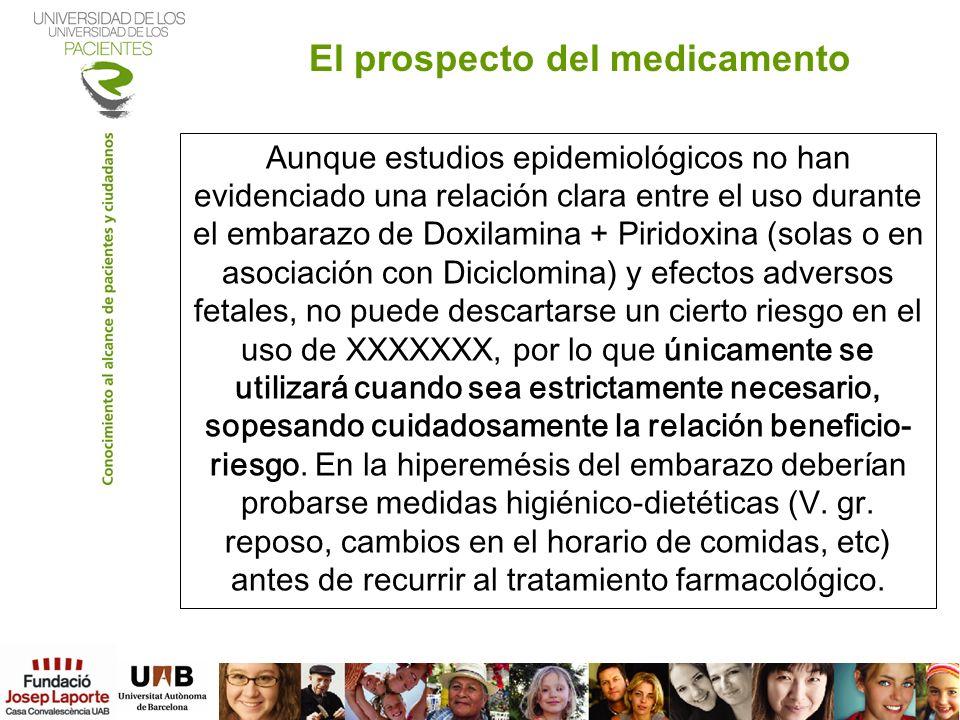 Aunque estudios epidemiológicos no han evidenciado una relación clara entre el uso durante el embarazo de Doxilamina + Piridoxina (solas o en asociaci
