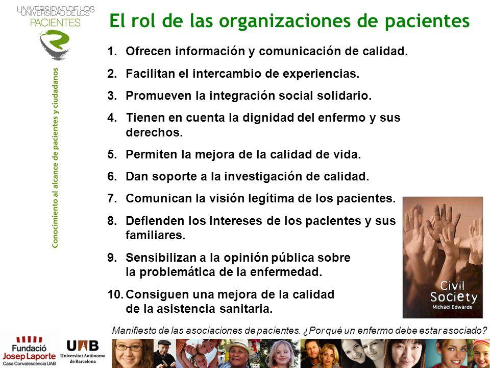 El rol de las organizaciones de pacientes 1.Ofrecen información y comunicación de calidad. 2.Facilitan el intercambio de experiencias. 3.Promueven la