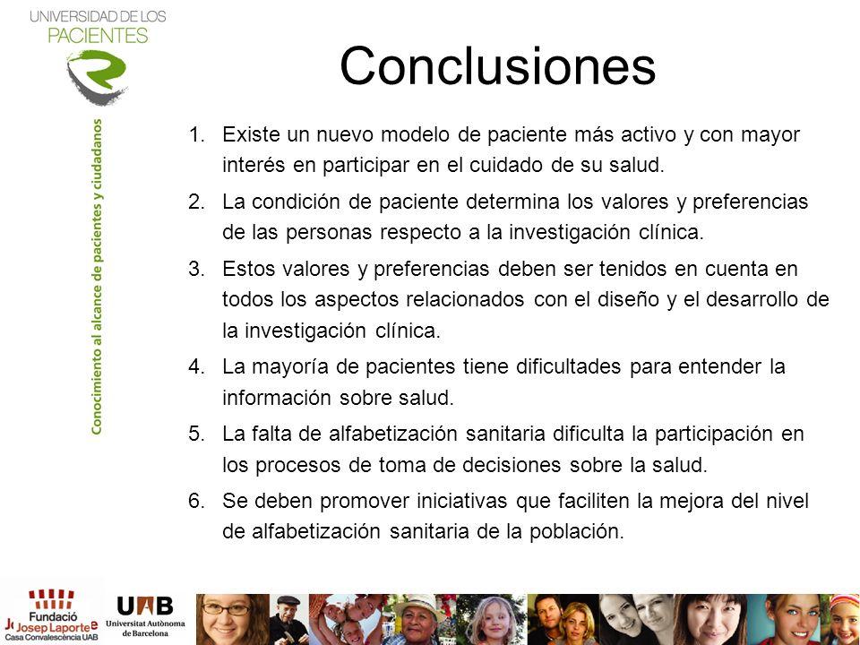 Conclusiones 1.Existe un nuevo modelo de paciente más activo y con mayor interés en participar en el cuidado de su salud. 2.La condición de paciente d