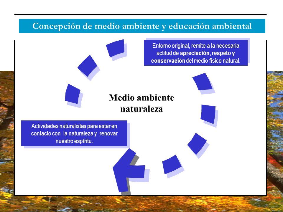 Concepción de medio ambiente y educación ambiental Medio ambiente naturaleza Entorno original, remite a la necesaria actitud de apreciación, respeto y