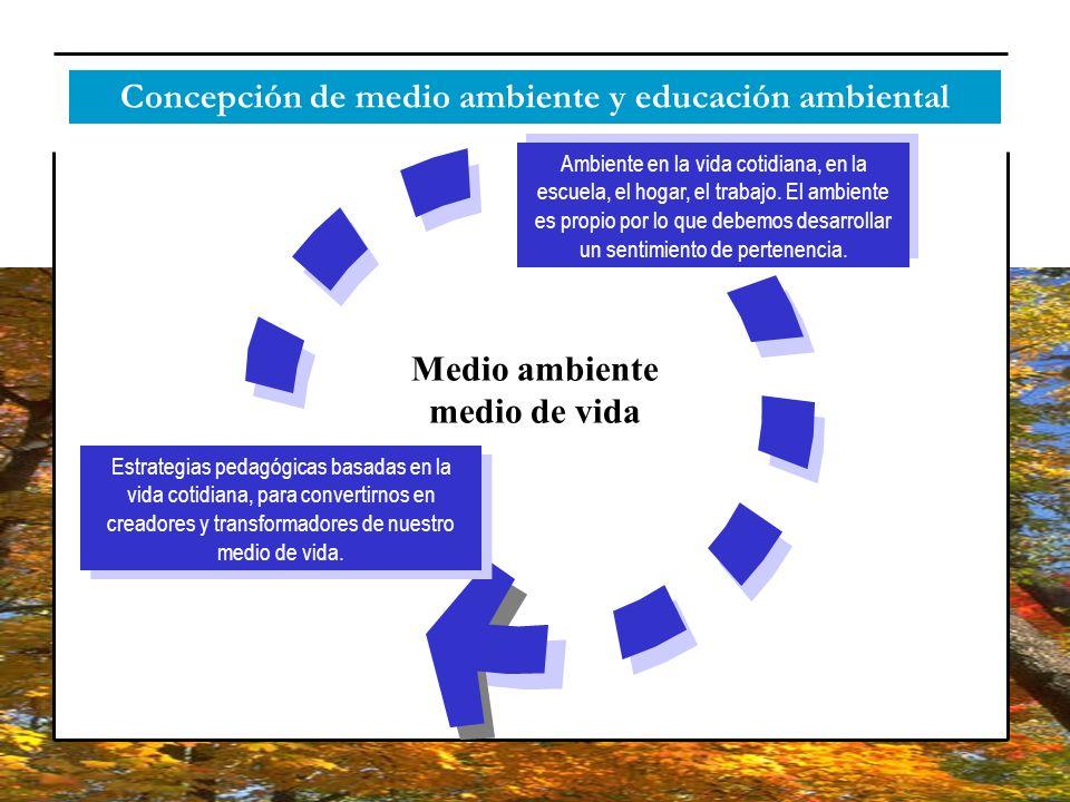 Concepción de medio ambiente y educación ambiental Medio ambiente medio de vida Ambiente en la vida cotidiana, en la escuela, el hogar, el trabajo. El