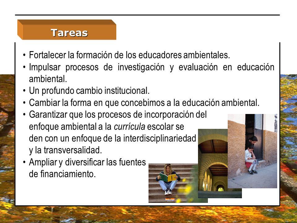 Fortalecer la formación de los educadores ambientales. Impulsar procesos de investigación y evaluación en educación ambiental. Un profundo cambio inst