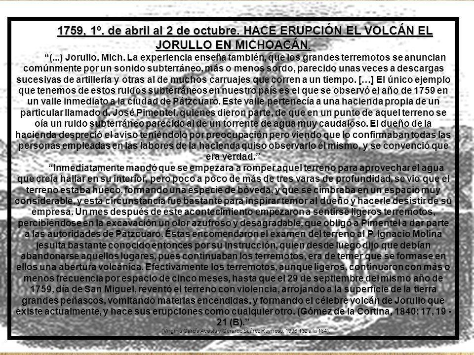 1759, 1º.de abril al 2 de octubre. HACE ERUPCIÓN EL VOLCÁN EL JORULLO EN MICHOACÁN.