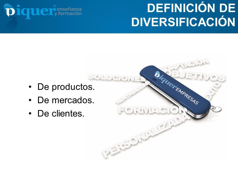 DEFINICIÓN DE DIVERSIFICACIÓN De productos. De mercados. De clientes.