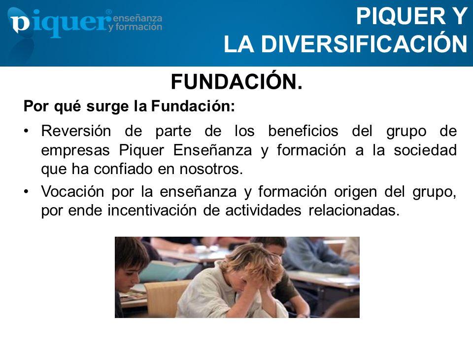 FUNDACIÓN. Reversión de parte de los beneficios del grupo de empresas Piquer Enseñanza y formación a la sociedad que ha confiado en nosotros. Vocación